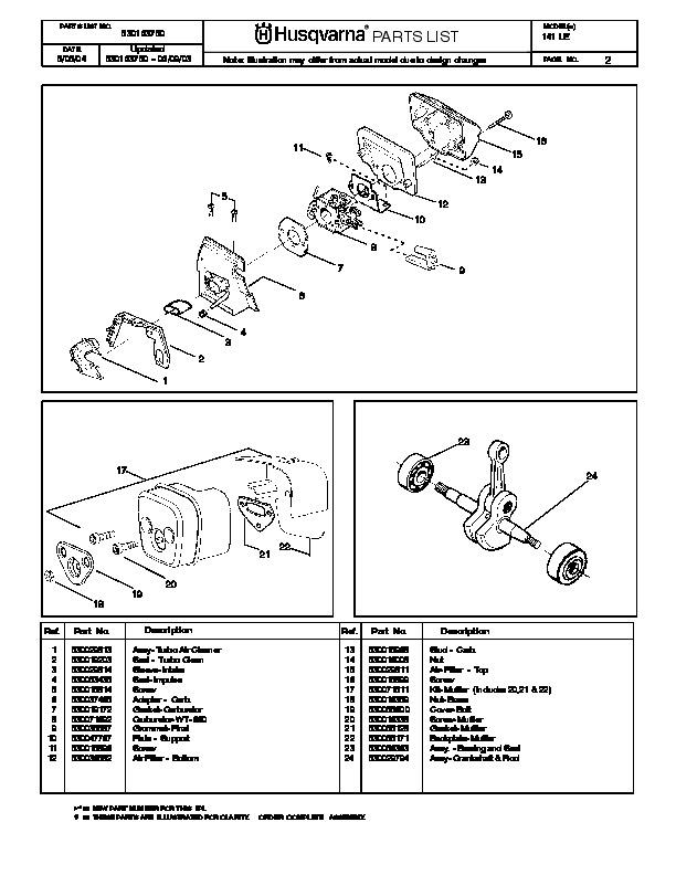 husqvarna 141 chainsaw parts manual  2004 2005 husqvarna parts manual chainsaw Husqvarna Lawn Mower Parts Manual