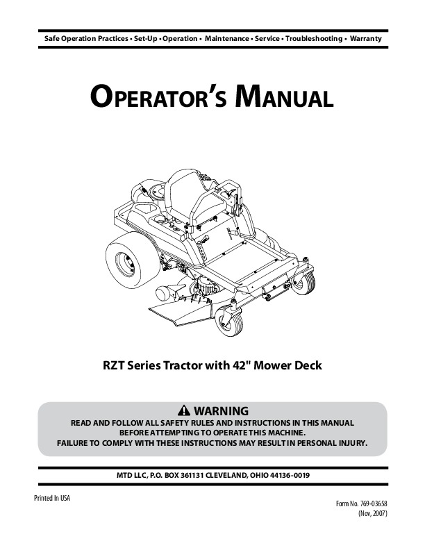 Troy Bilt Rzt50 Repair Manual
