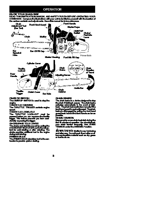 poulan chainsaw pp5020av owners manual
