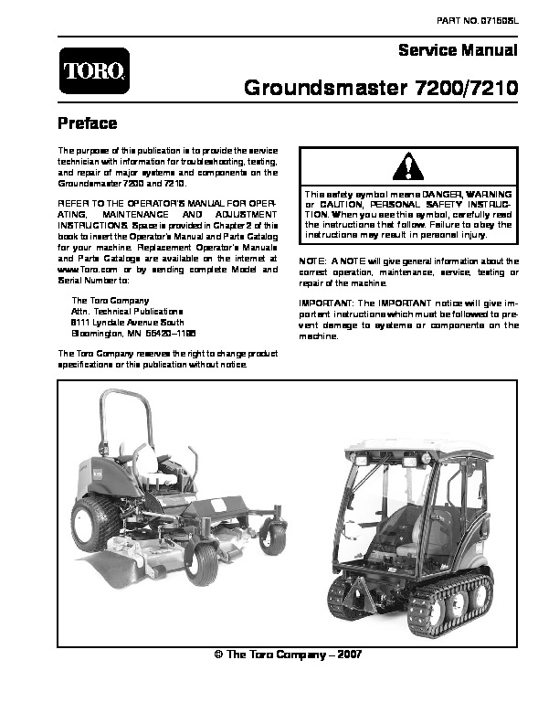 Toro 07150SL Service Manual Groundsmaster 7200 7210 Preface publication 1 toro groundsmaster 117 wiring diagram toro groundsmaster 117 Toro Groundsmaster 117 Parting Out at gsmx.co