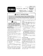 Toro 30941 41cc Back Pack Blower Manual, 1992 page 1