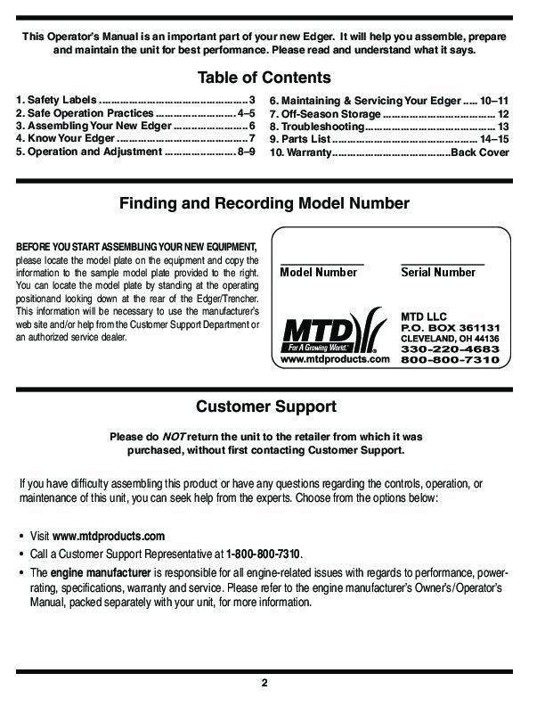 MTD Troy-Bilt 550 Series Lawn Edger Lawn Mower Owners Manual