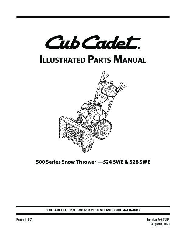 mtd cub cadet 524 swe 528 swe snow blower owners manual cub cadet snow blower manual 3 stage cub cadet 945 snow blower manual