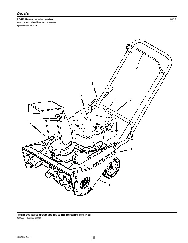 murray walk behind 1695537 21 inch snow blower parts manual rh filemanual com murray snowblower manual model 624505x79d murray snowblower manual owner's manual