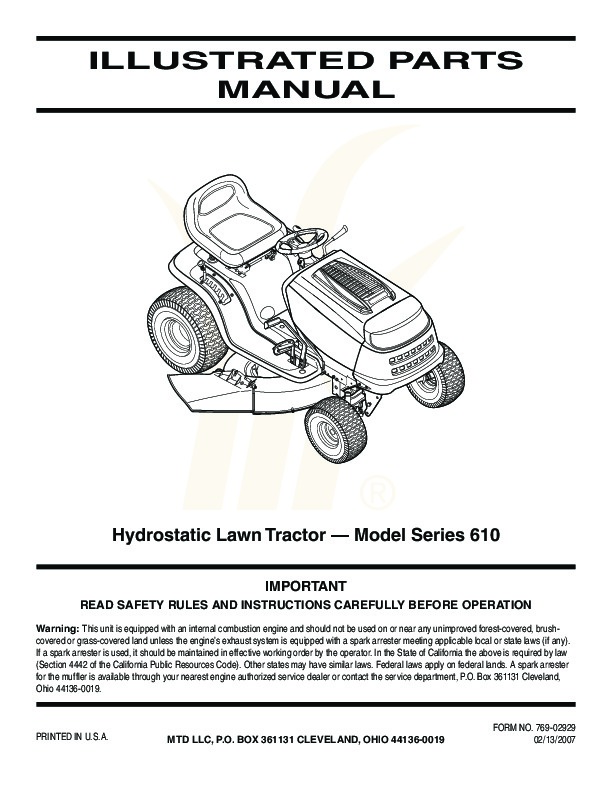 Lawn Mower Parts Product : Mtd hydrostatic lawn tractor mower parts list