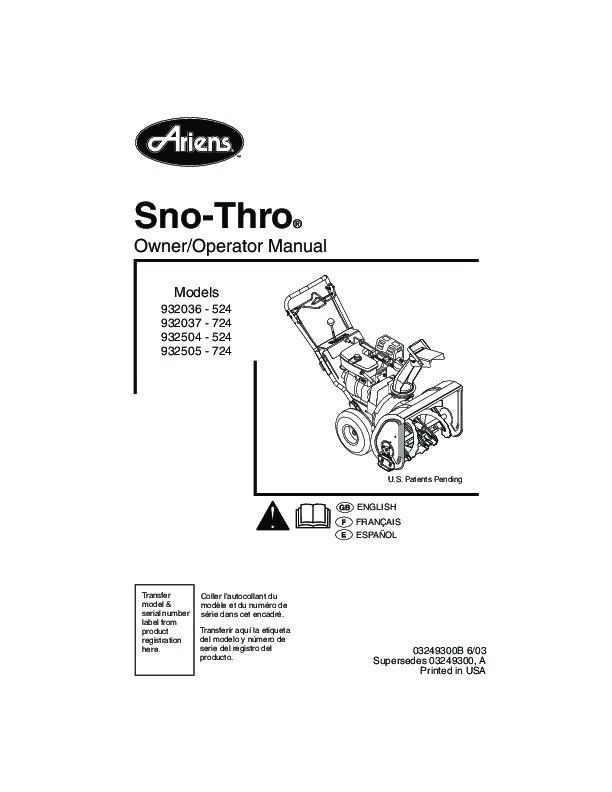 ariens sno thro 932036 524 932037 724 932504 524 932505 724 snow rh filemanual com ariens 624 snowblower manual Ariens Sno-Thro Model 932036
