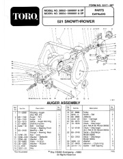 Toro 38054 521 Snowthrower Parts Catalog, 1995 page 1