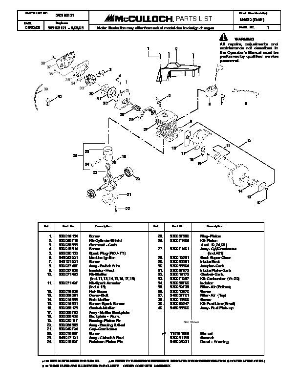 mcculloch m4620 chainsaw service parts list rh lawn garden filemanual com STIHL Trimmers Mac 95 Trimmer Parts
