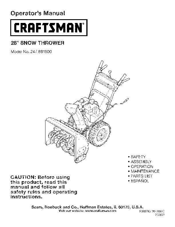 Craftsman 247 881900 craftsman 28 inch snow blower owners manual page