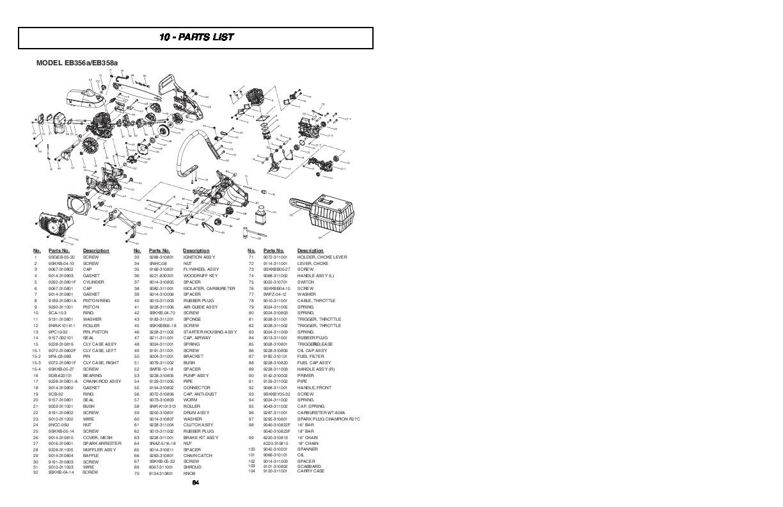 mcculloch eager beaver eb356a eb358a chainsaw parts list rh filemanual com McCulloch Gas String Trimmer Parts McCulloch Gas String Trimmer Parts
