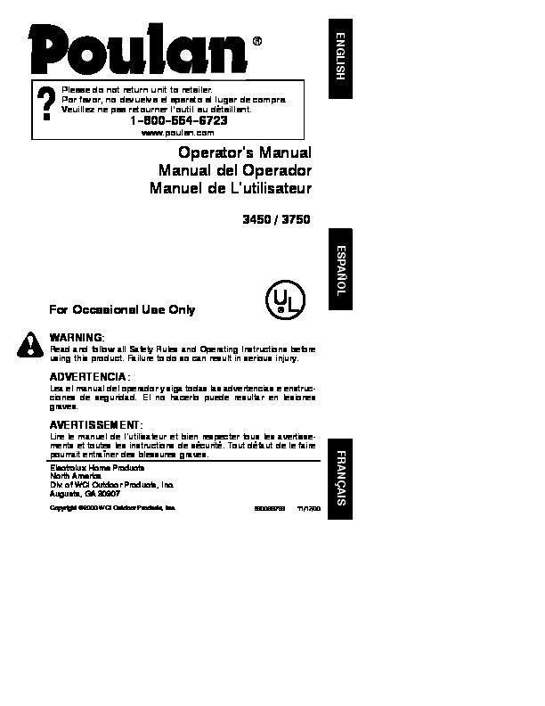 Poulan 3450 3750 Chainsaw Owners Manual  2000