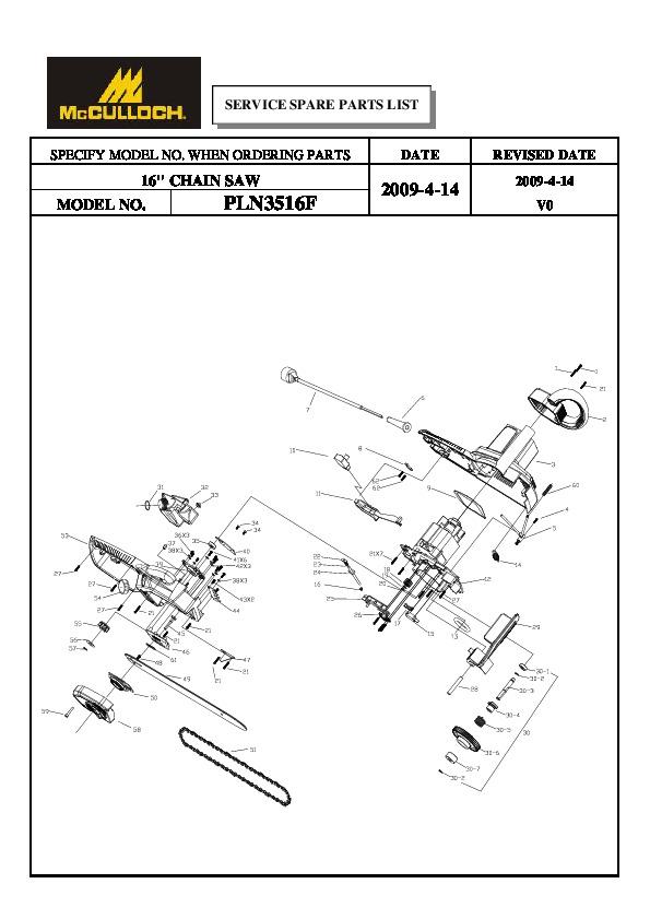 mcculloch ipl pln3516f chainsaw service parts list 2004 2005 2006 rh filemanual com