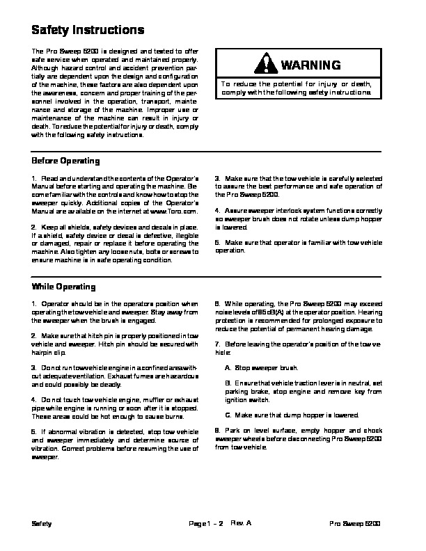 Toro 05137SL Rev A Service Manual Pro Sweep 5200 Preface