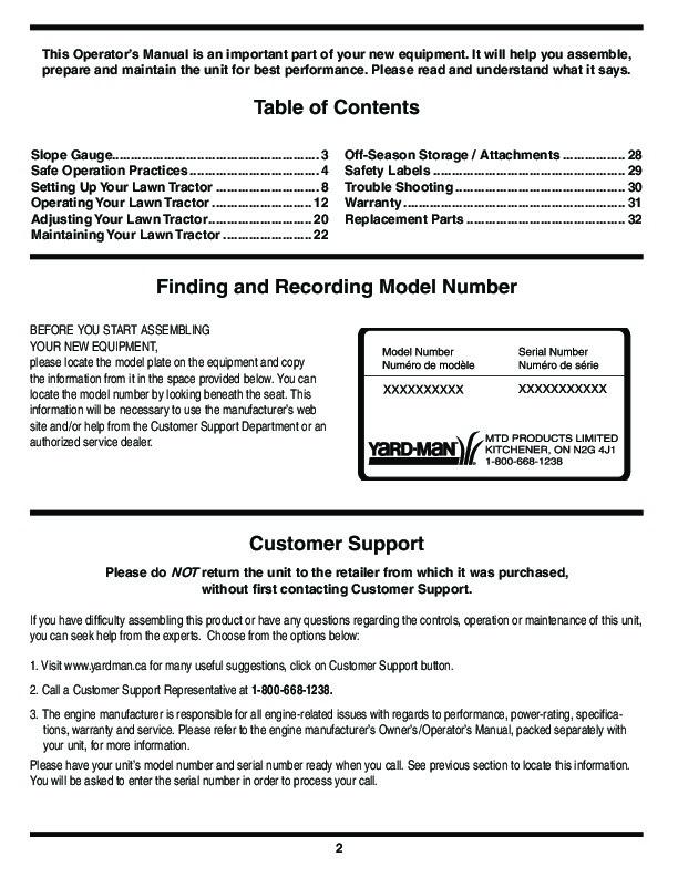 MTD Yard Man 604 Transmatic Tractor Lawn Mower Owners Manual