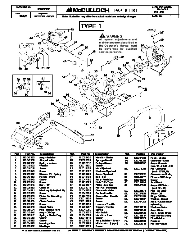 Mcculloch mac cat 335 435 chainsaw service parts list fandeluxe Images