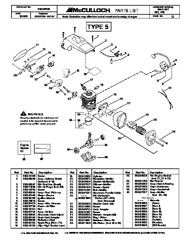 Mcculloch mac cat 335 435 chainsaw service parts list mcculloch owners manual 10 of 13 fandeluxe