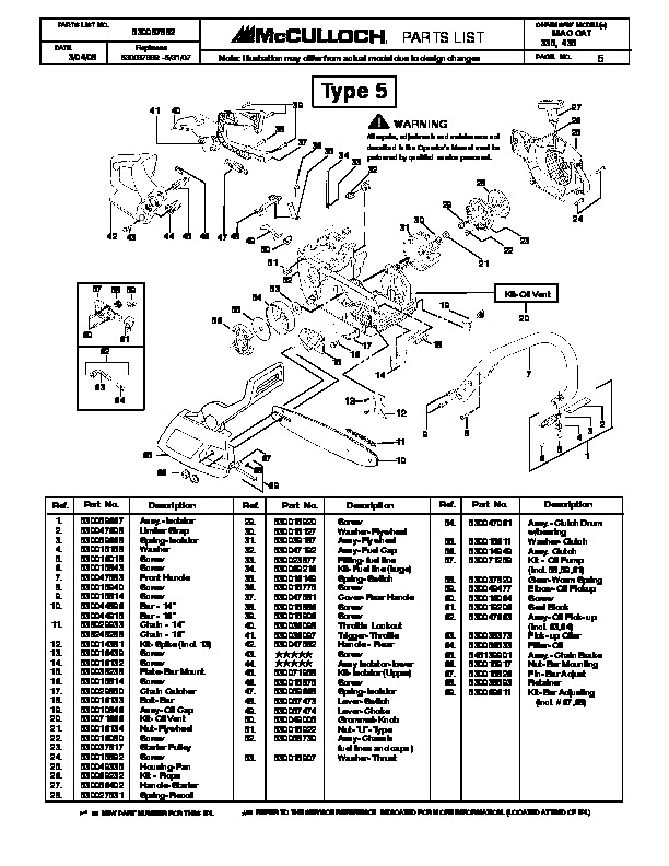 Mcculloch mac cat 335 435 chainsaw service parts list mcculloch owners manual 5 of 13 fandeluxe Images