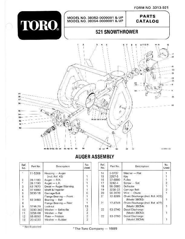 toro 38052 521 snowblower manual 1990 rh lawn garden filemanual com Toro 824 Snowblower Parts Toro 724 Snowblower Parts