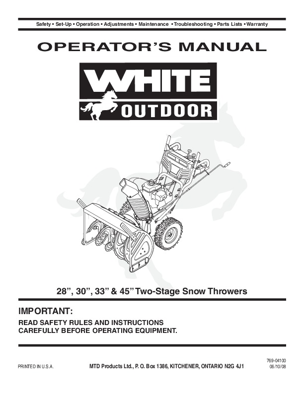 mtd white outdoor 28 30 33 45 two stage snow blower owners manual rh filemanual com White Snow Blower White Outdoor Snowblower