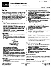 Toro 51593 Super Blower/Vacuum Owners Manual, 2007, 2008, 2009 page 1