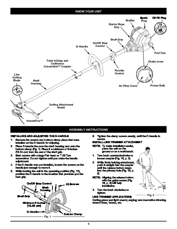 craftsman 316 796170 4 cycle trimmer lawn mower owners manual