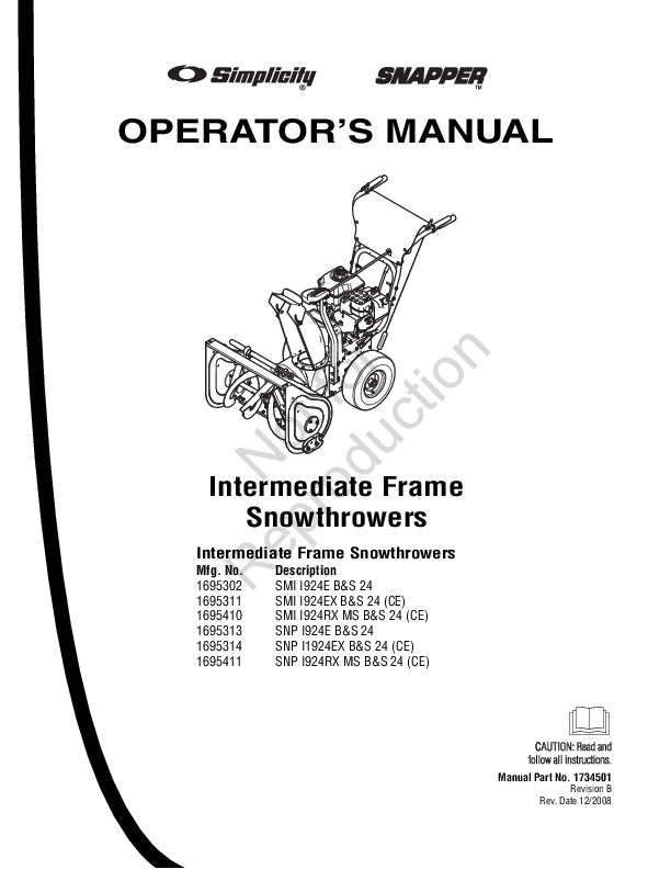 simplicity snapper 1695302 1695311 1695410 1695313 1695314 1695411 rh filemanual com snapper 826 snowblower owners manual Old Snapper Snowblower Parts