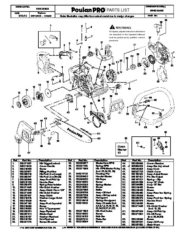 Poulan Pro Pp4218avx Chainsaw Parts List  2010