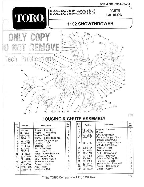 toro 828 1132 power shift 38580 snow blower owners and service rh lawn garden filemanual com toro service manual download toro service manual snowblower