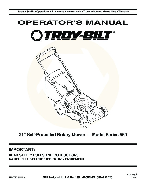 MTD Troy-Bilt 560 Series 21 Inch Self Propelled Rotary Lawn Mower