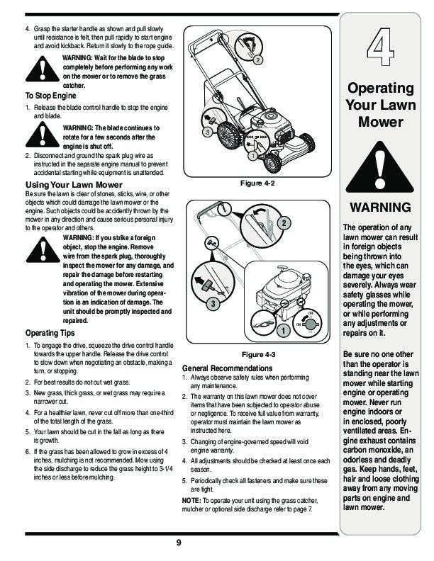 troy bilt self propelled lawn mower manual