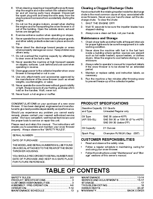 poulan pro snowblower owners manual