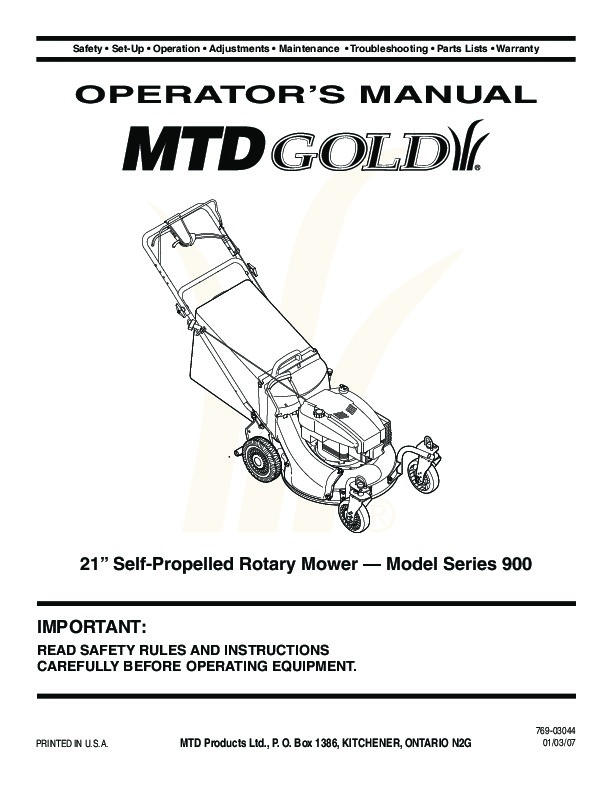 Mtd Garden Tractor 900 Series : Mtd gold series inch self propelled rotary lawn