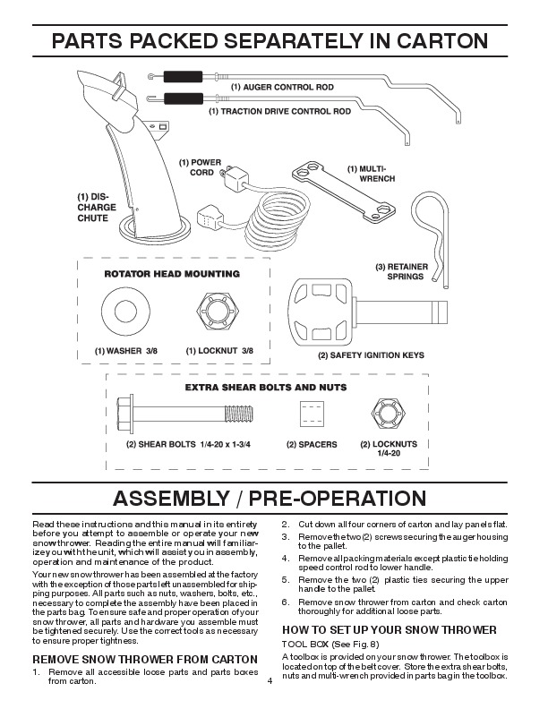 poulan pro snowblower owners manual