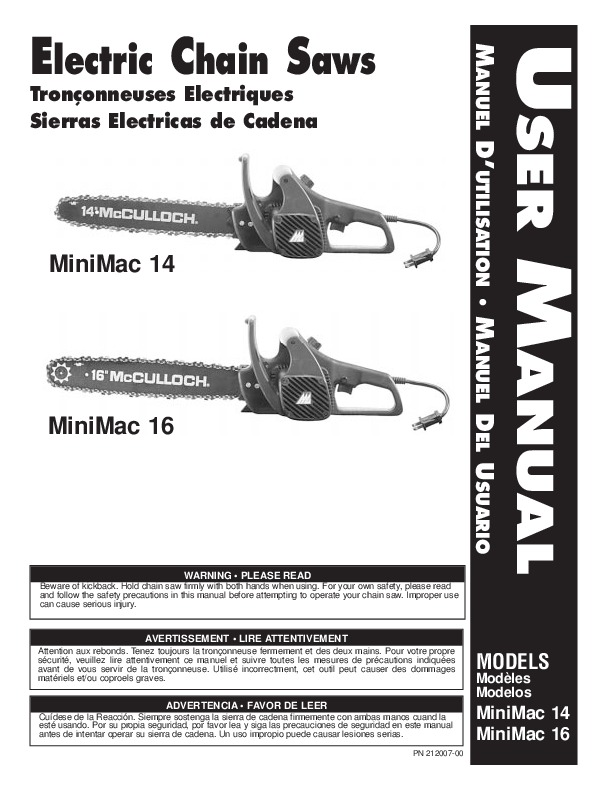 mcculloch minimac 14 16inch electric chainsaw owners manual rh filemanual com Mac Mini Refurbished Mac Mini vs iMac