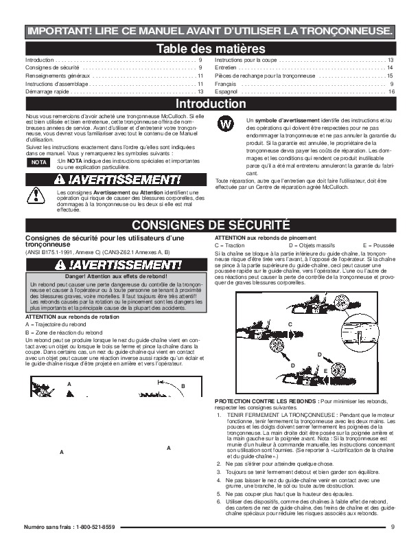 mcculloch minimac 14 16inch electric chainsaw owners manual