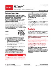 Toro 20013 22-Inch Recycler Lawn Mower Owners Manual, 2006 page 1