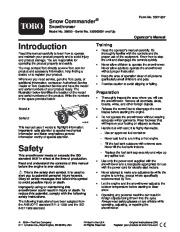 Toro Snow Commander 38603 Snow Blower Owners and Service Manual 2005 page 1
