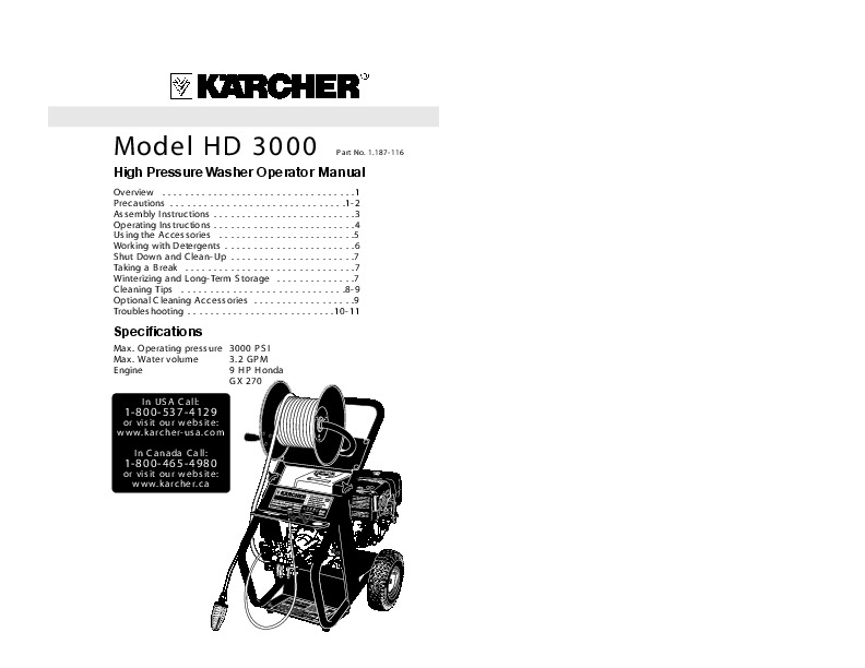 Krcher Hd 3000 Dh Q C Gasoline Power High Pressure Washer Owners Manual