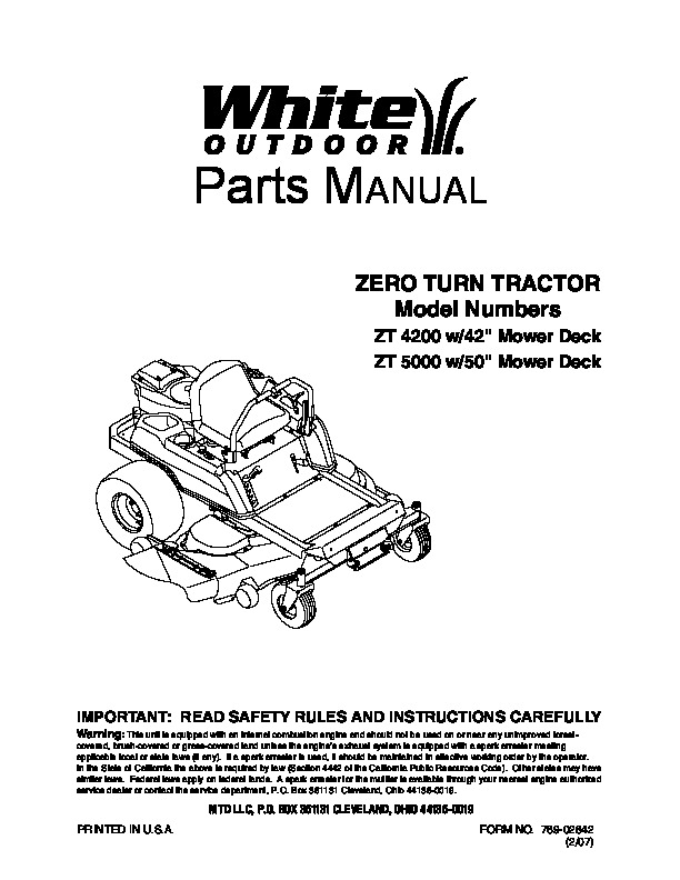 mtd white outdoor zt 4200 zt 5000 42 50 inch zero turn tractor lawn rh lawn garden filemanual com White Lawn Mower Replacement Parts Who Makes White Mowers