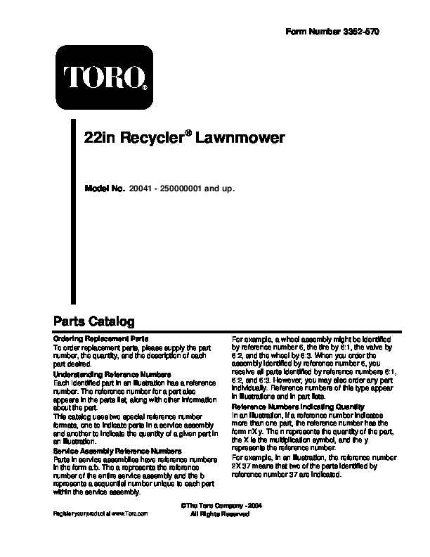 toro 20041 22 inch recycler lawn mower owners manual 2005 rh lawn garden filemanual com Toro 20041 Self-Propel Problems Owner's Manual Toro Model 20041