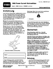 Toro 38026 1800 Power Curve Snowthrower Laden Anleitung, 2009 page 1
