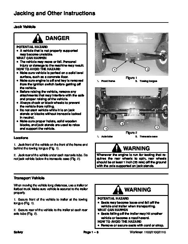 toro 02110sl rev d service manual workman 1100 1110 2100 2110 preface  publication - 10 of 194