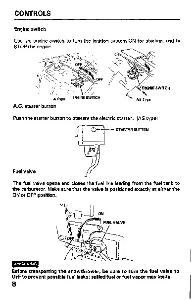 honda hs621 snow blower owners manual