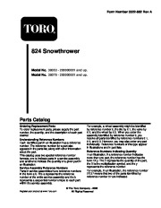 Toro 38053 824 Power Throw Snowthrower Parts Catalog, 2002 page 1