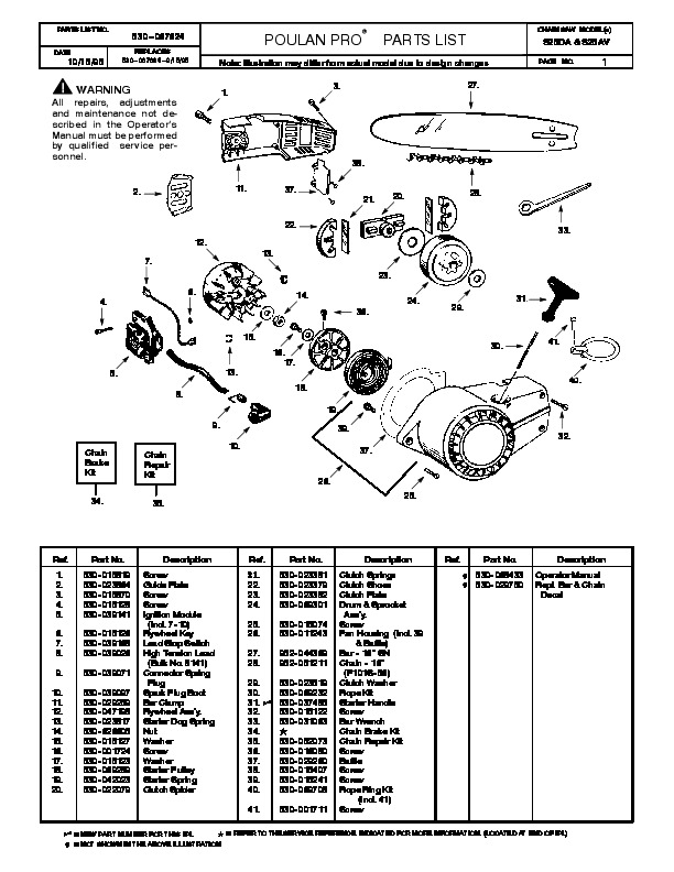 Poulan Chain Saw Parts Diagram