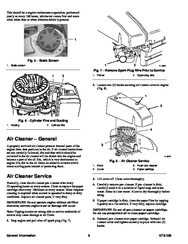Toro GTS 200 Overhead Valve Engine Lawn Mower Service Manual