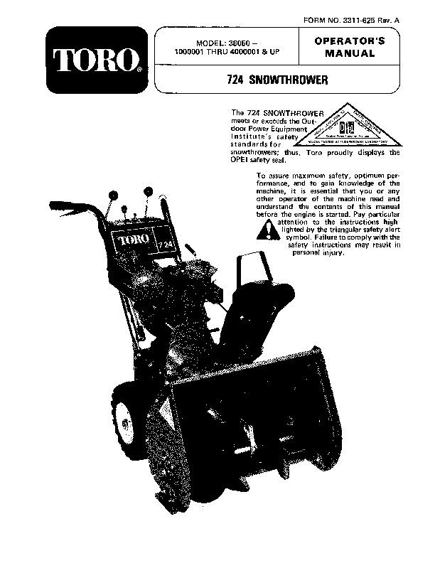 toro 38050 724 snowblower manual 1984 rh lawn garden filemanual com Toro S200 Snowblower Manual Toro 521 Service Manual
