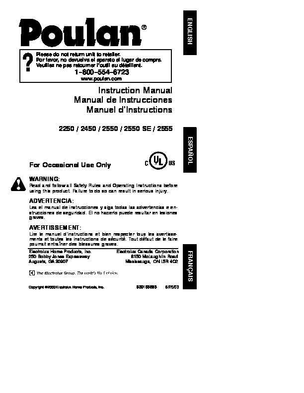 Poulan 2250 2450 2550 2550se 2555 Chainsaw Owners Manual 2003