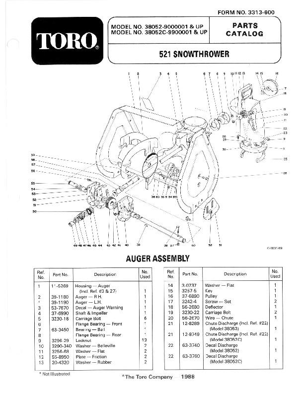 toro 38052c 521 snowblower manual  1988
