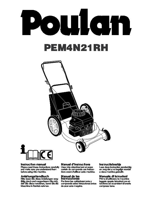 poulan pem4n21rh lawn mower owners manual  2005